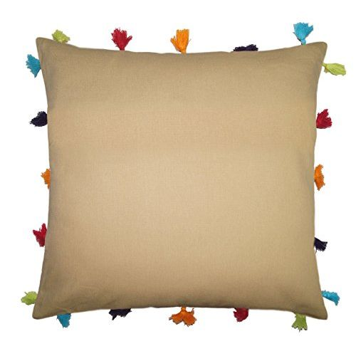 Lushomes Sand Cotton Cushion Cover with Pom Pom - Pack of 1