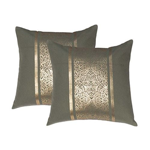 Lushomes Green Cushion Covers with Gold Foil Print (Pack of 2)