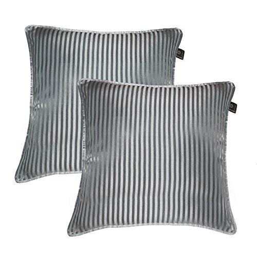 Lushomes Grey Contemporary Stripped Cushion Cover with Plain Piping, 16 x 16(Pack of 2) Torantina Collection