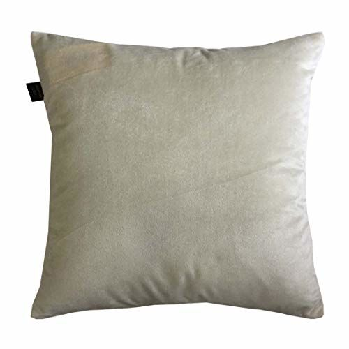 Lushomes Off- White Thick Velvet Fabric with Laser Cutting with Lining. (16 x 16, Pack of 2)