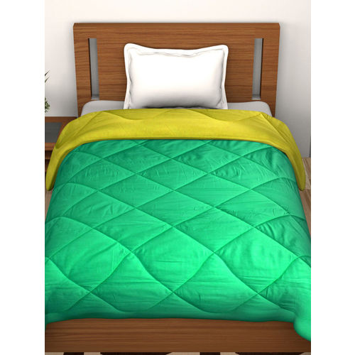 Story@home Green & Yellow Solid Heavy Winter 210 GSM Single Bed Comforter
