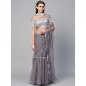 Inddus Grey Solid Saree