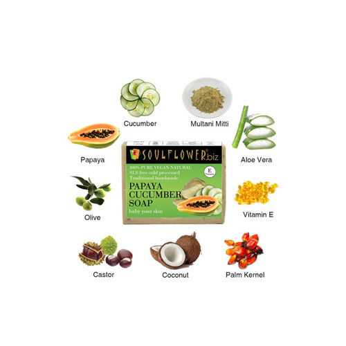 Soulflower Papaya Cucumber Unisex Soap