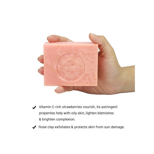 Soulflower Pink Strawberry Skin Unisex Soap