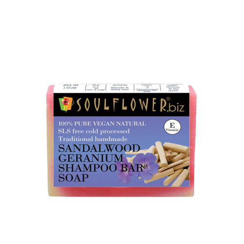 Soulflower Sandalwood Geranium Unisex Shampoo Bar
