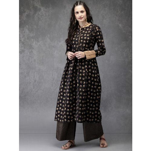 Anouk Women Black & Gold-Toned Printed Kurta with Palazzos