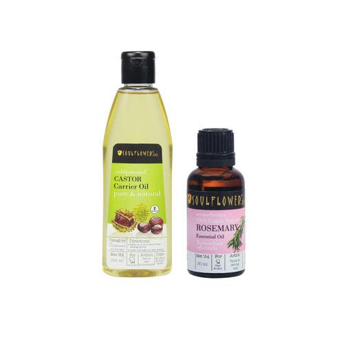 Soulflower Set of 2 Castor Carrier Oil (225ml) & Rosemary Essential Oil (30 ml)