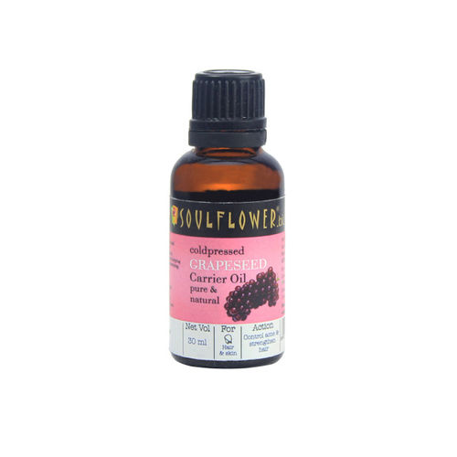 Soulflower Cold Pressed Grapeseed Oil for Skincare and Acne 30ml