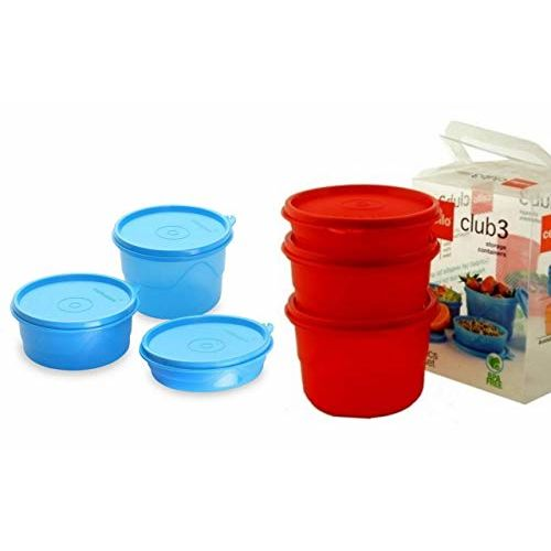 Cello Max Fresh Club Polypropylene Container Set of 2, 3-Pieces Each,(Red&Blue)(550ml)(375ml)(225ml)