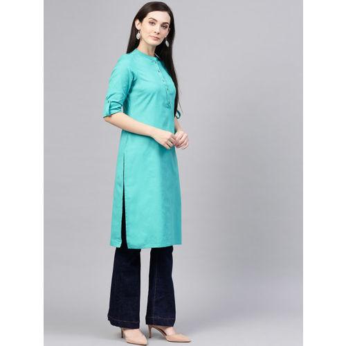 W Women Blue Solid Straight Kurta