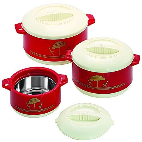 Cello Chef Plastic 500, 850 ml and 1.5 L Casserole (Maroon)-Set of 3