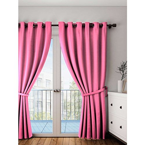 Lushomes Rasberry Plain Cotton Curtains with 8 Eyelets for Door