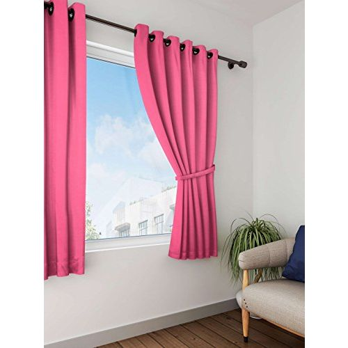 Lushomes Rasberry Plain Cotton Curtains with 8 Eyelets for Windows