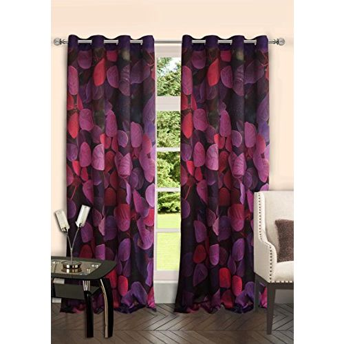 Lushomes Digitally Printed Flowerbed Polyester Blackout Curtains with 6 Metal Eyelets for Doors
