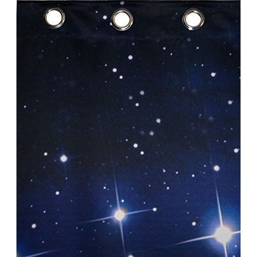 Lushomes Digitally Printed Stars Polyester Blackout Curtains with 6 Metal Eyelets for Doors
