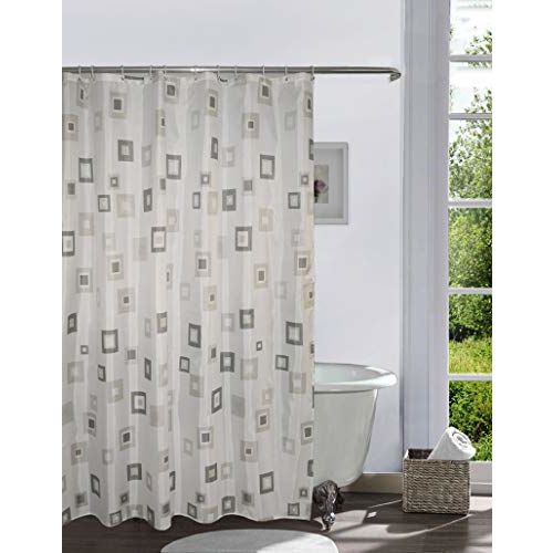 Lushomes Digital Solid Square Design Shower Curtain with 12 Eyelets and 12 Hooks (Single pc, 71 x 78, 180 x 200 cms)