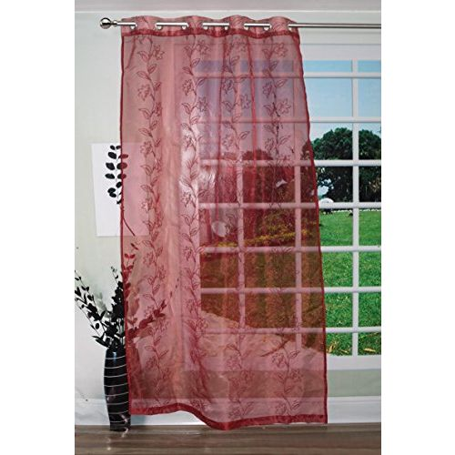 Lushomes Flower Design Polyester Blend 45x84-inch Sheer Curtain (Red)
