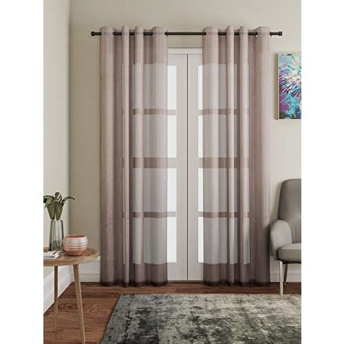 Lushomes Brown Design 3 Melody Sheer Curtains