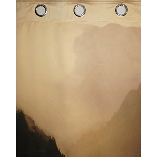 Lushomes Digitally Printed Mountain Polyster Curtains with 8 Metal Eyelets