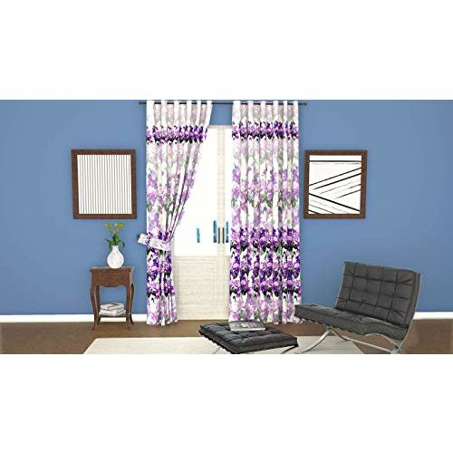 Lushomes Digitally Printed Purple Blossom Polyester Blackout Curtains for Doors (Single pc)
