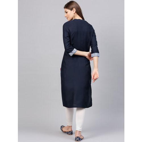 W Women Navy Blue Printed Straight Kurta