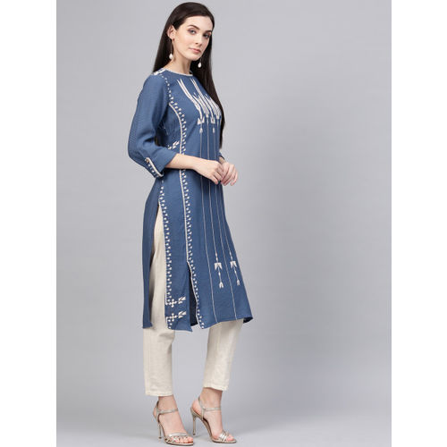 W Women Navy Blue & Off-White Woven Design Straight Kurta