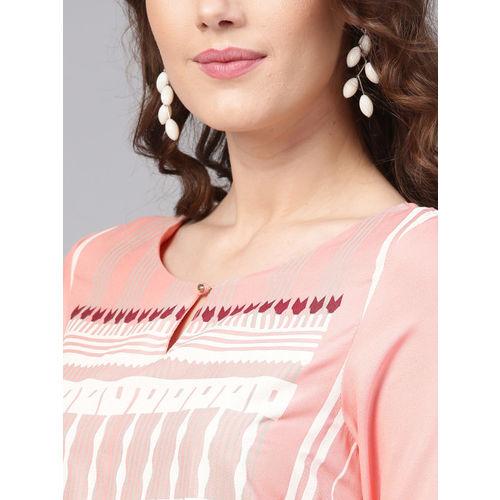 W Women Pink & Off-White Printed Straight Kurta
