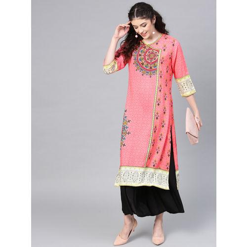 Shree Women Pink Printed Angrakha Straight Kurta