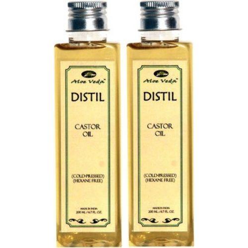 Aloe Veda Distil Cold-Pressed Hexane Free Castor Oil Combo Set Of 2 Hair Oil