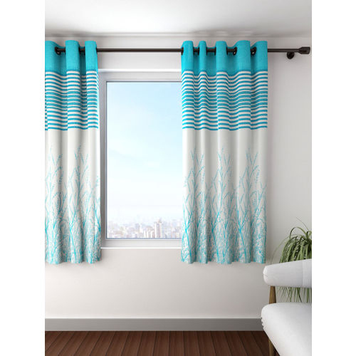 Cortina Blue Single Patterned Blackout Window Curtain