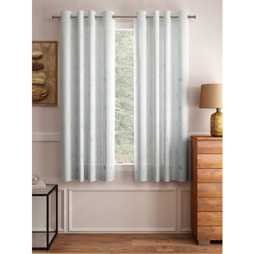Cortina Set of 2 Blue Embroidered Sheer Window Curtains