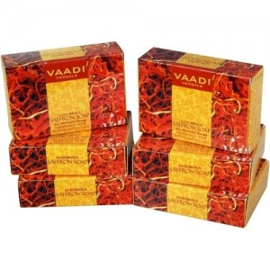 Vaadi Herbals Luxurious Saffron Soap - Skin Whitening Therapy - Pack of 6