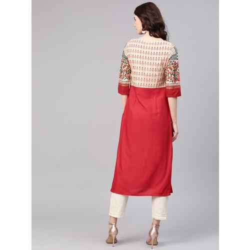 W Women Red & Beige Yoke Design Straight Kurta