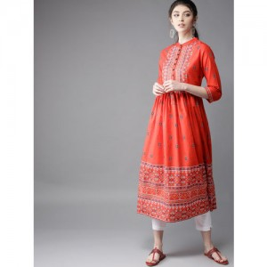 Moda Rapido Red Cotton Printed A-Line Kurta