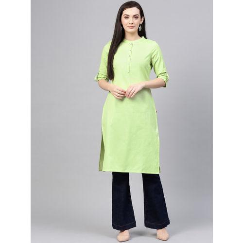 W Women Green Solid Straight Kurta