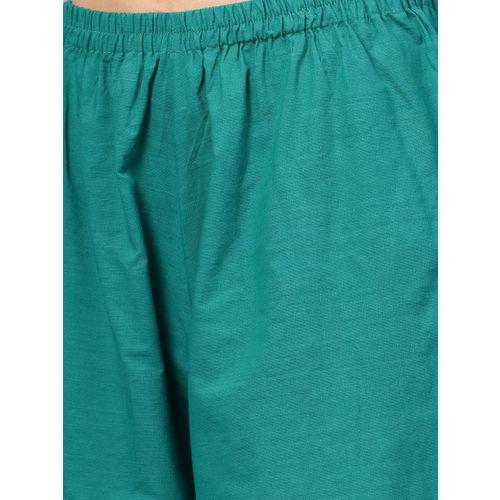 Bhama Couture Women Green Yoke Design Kurta with Palazzos