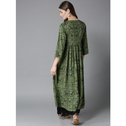 HERE&NOW Women Olive Green & Black Printed Layered A-Line Kurta