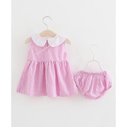 Awabox Pink Checkered Sleeveless Dress With Bag & Bloomer Set