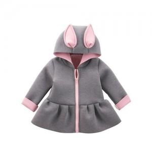Awabox Grey Bunny Ear Applique Full Sleeves Hooded Jacket