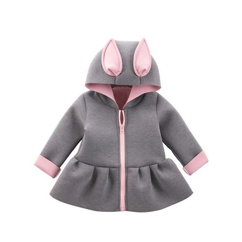 Awabox Grey Bunny Ear Applique Full Sleeves Hooded Jacket