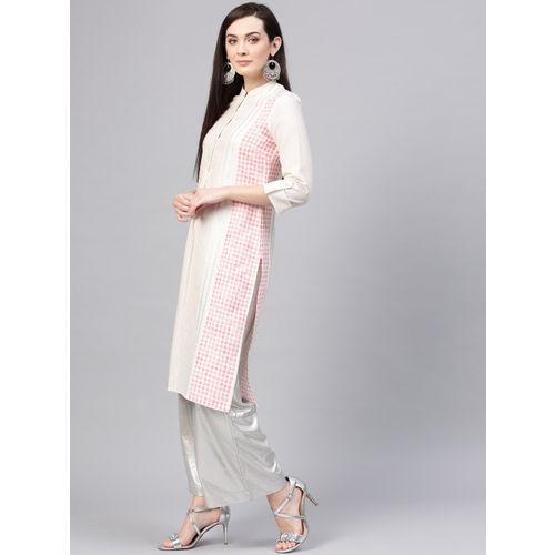 W Women Off-White & Peach-Coloured Striped Straight Kurta