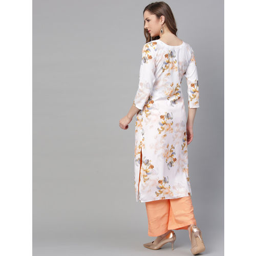 Ahalyaa Women White & Peach-Coloured Printed Kurta with Palazzos