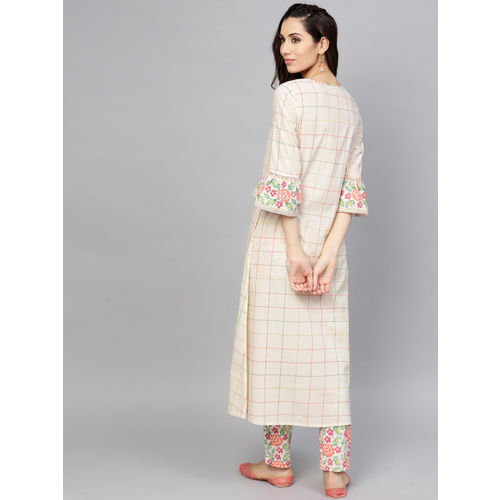AKS Women Off-White Checked A-Line Kurta