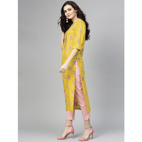 Libas Women Mustard Yellow & Blue Printed Straight Kurta