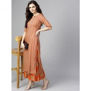 Libas Women Orange & Red Striped Kurta with Palazzos