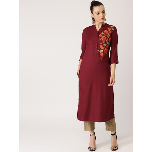 Libas Women Maroon Embroidered Straight Kurta