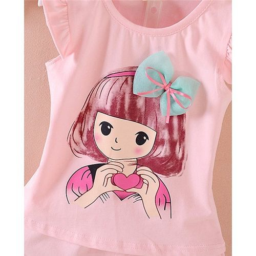 Pre Order - Awabox Girl Print Short Sleeves Top With Bottom Set - Light Pink