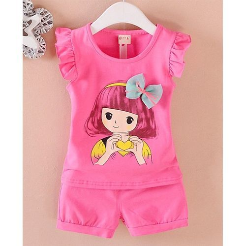 Pre Order - Awabox Girl Print Short Sleeves Top With Bottom Set - Dark Pink