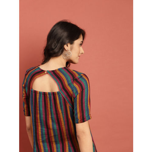 Taavi Women Multicoloured Striped Woven Legacy Straight High-Low Kurta with Styled Back