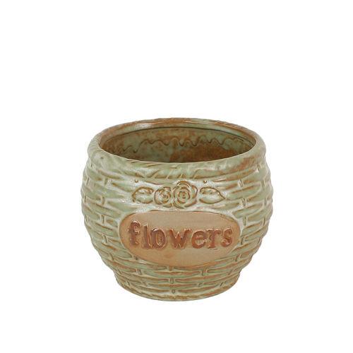 Aapno Rajasthan Green & Brown Textured Planter Pot